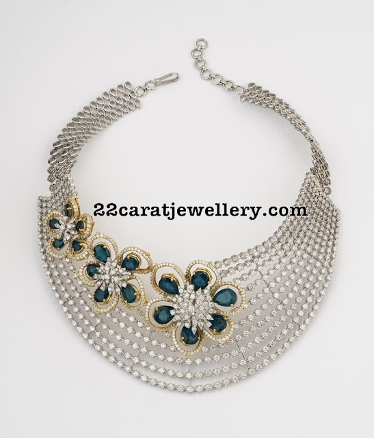 Heavy Diamond Choker with Floral Motifs