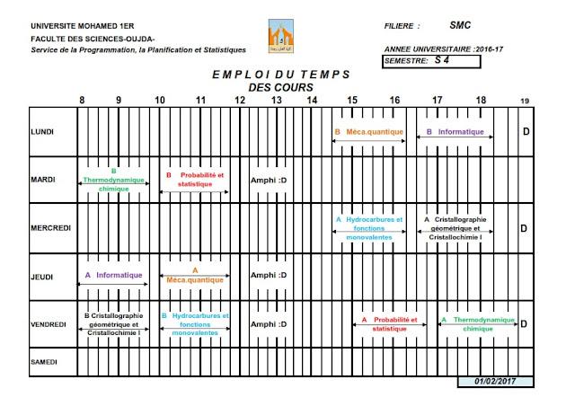 SMC S4 : Emplois du temps des Cours 2016/2017