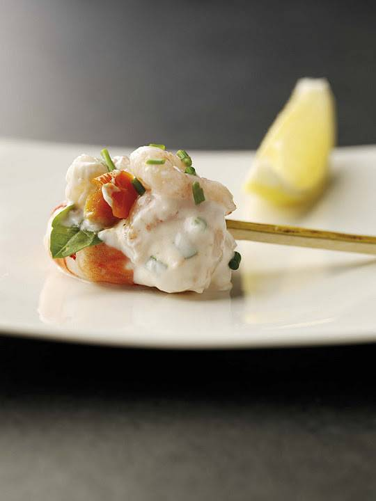 Lemon And Basil Prawn Cocktail Canapés With A Yoghurt And Sun Blush Tomato Dressing: