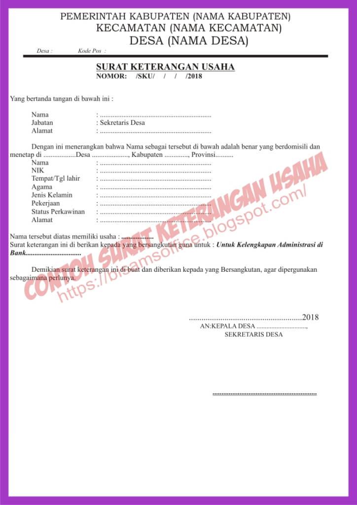 Contoh Surat Permohonan Keterangan Usaha Download Doc Bisa