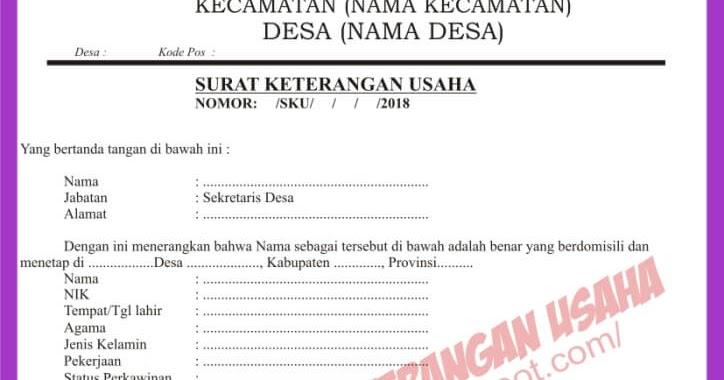 Contoh Surat Izin Usaha Pdf