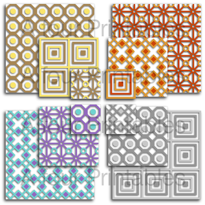 Mixed set of squares printable collage sheet from A four Printables.