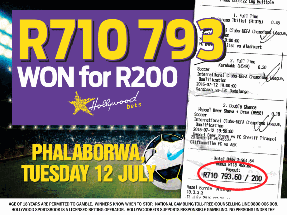 Big Soccer Win - R710,793 win for R200 - Hollywoodbets Phalaborwa