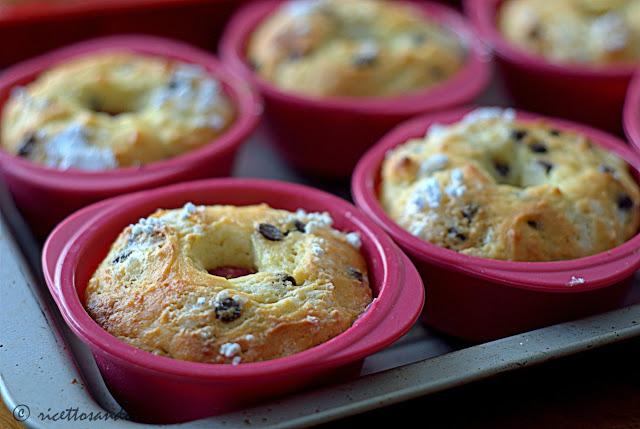 Muffins  di ricotta e cioccolato dopo la cottura