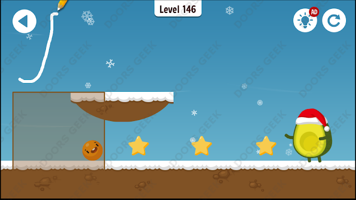 Where's My Avocado? Level 146 Solution, Cheats, Walkthrough, 3 Stars for Android, iPhone, iPad and iPod