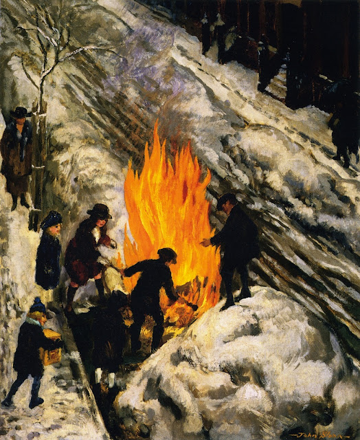 1918 Bonfire in Snow