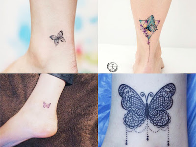 Small tattoos of butterflies in the ankle for Women
