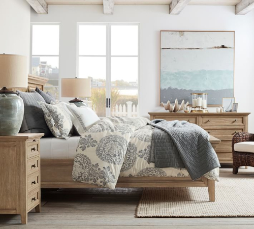 Pottery Barn Coastal Bedroom with Large Abstract Ocean Art