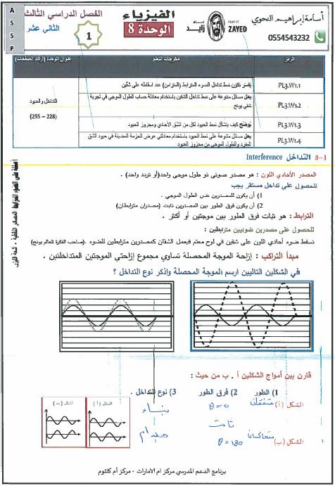 حل وحدة التداخل والحيود فيزياء للصف الثاني عشرالفصل الثالث2017 2018 العلوم والتكنولوجيا