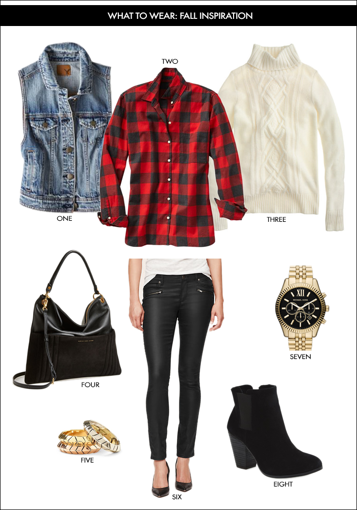 fall style, buffalo plaid, moto jeans, MK watch, booties, cable knit sweater, hobo bag, denim vest, wear on weekend