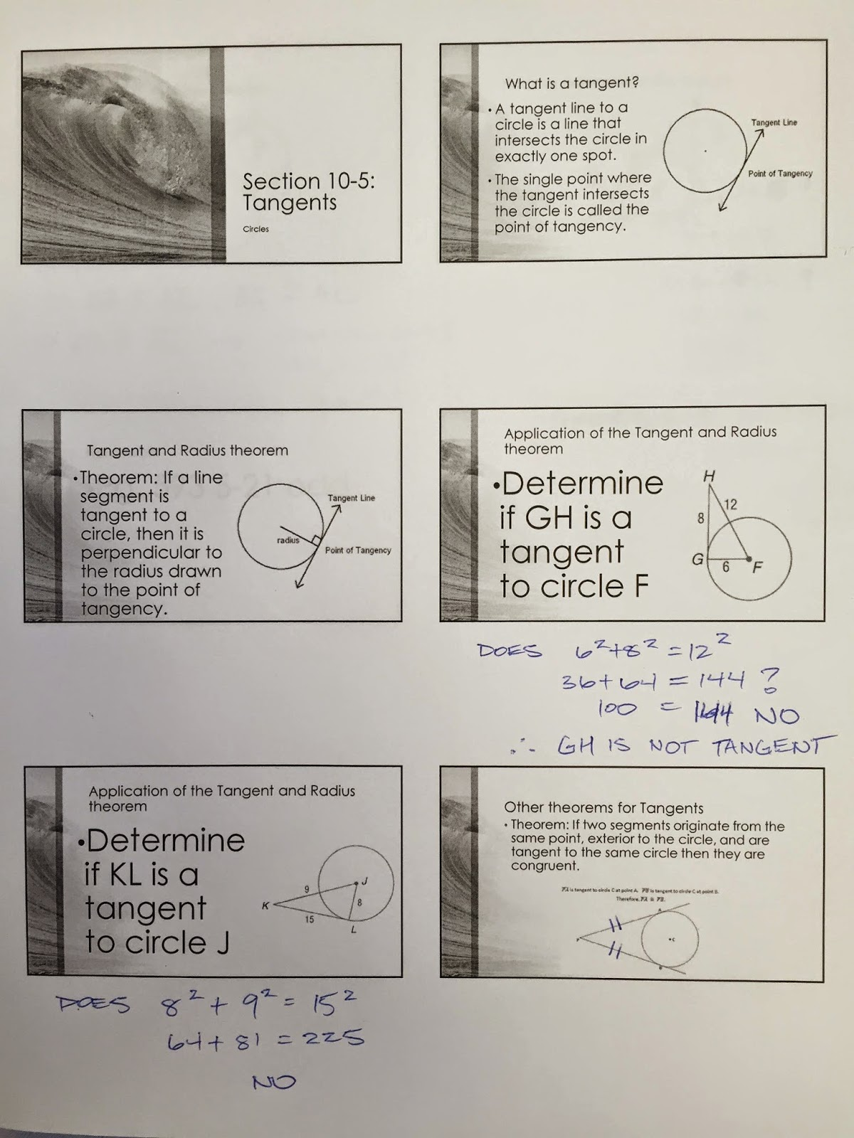 Honors Geometry - Vintage High School: Section 10-5: Tangents