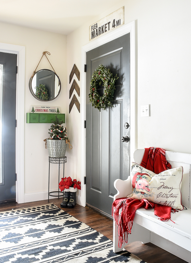 Christmas home tour, mudroom, christmas decor, Christmas, holiday home