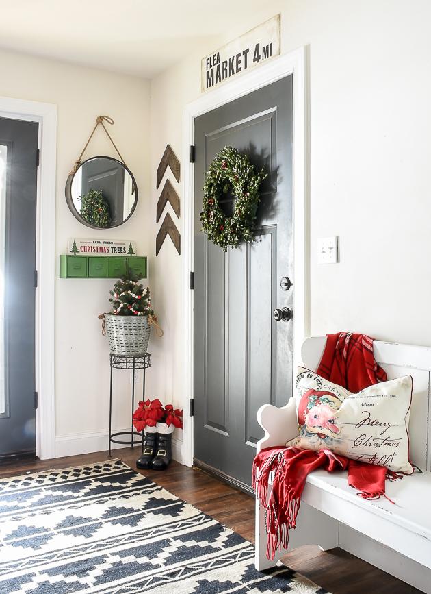Christmas home tour, mudroom, christmas decor, Christmas, holiday home