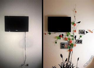 soggiorno con cavi della tv nascosti immagine
