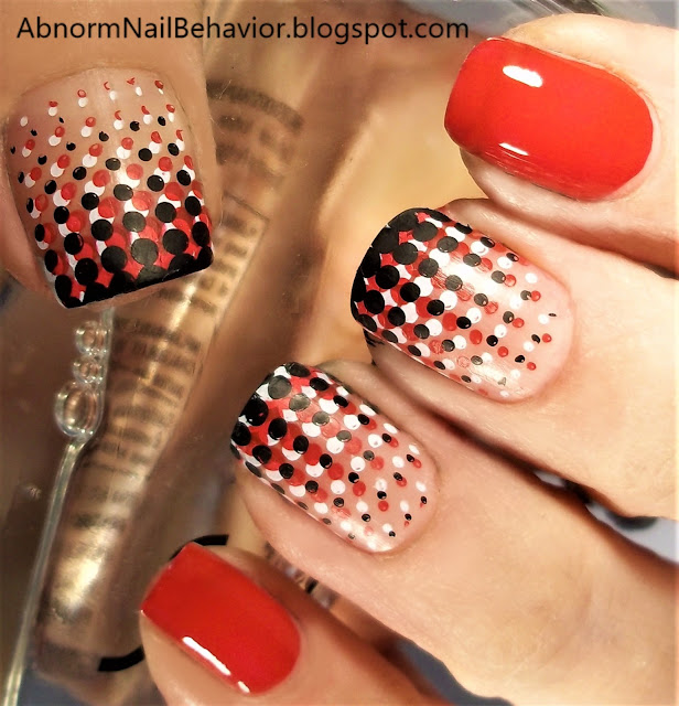 Red white and black nail art dot manicure