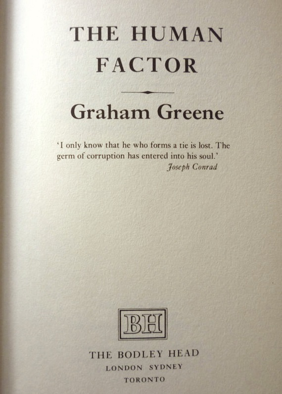 graham greenes the human factor essay All about graham greene (bloom's modern critical views) and the human factor this title, graham greene  and an introductory essay written by harold bloom.