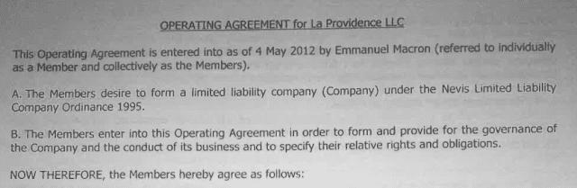 Captura de tela mostram o nome de Emmanuel Macron no contrato de operação para La Providence LLC.