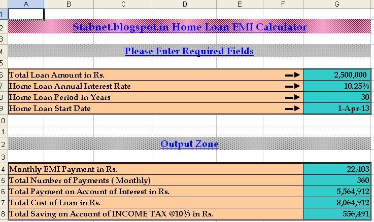 Home Loan EMI Calculator Excel