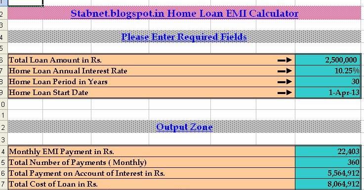 Home Loan Interest Excel Home Loan Interest Calculator - loan interest calculator