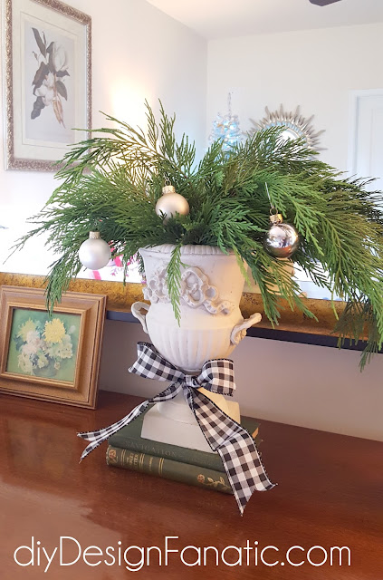 $30 Christmas tree, flocked tree, Christmas decorating, master bedroom , diyDesignFanatic.com, cottage, farmhouse