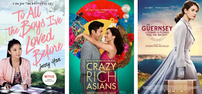Compilation of movie posters for To All The Boys I've Loved Before, Crazy Rich Asians, and The Guernsey Literary and Potato Peel Pie Society