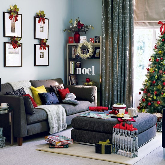 Home Interior Design: Christmas Living Room Decorating Ideas