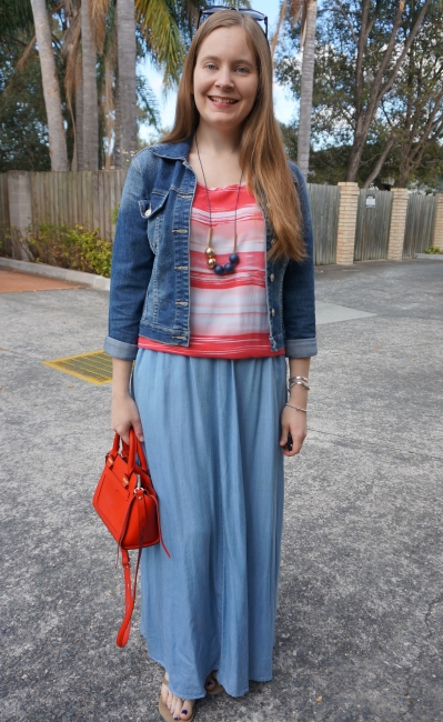 double denim jacket and chambray maxi skirt red tank and bag | away from blue