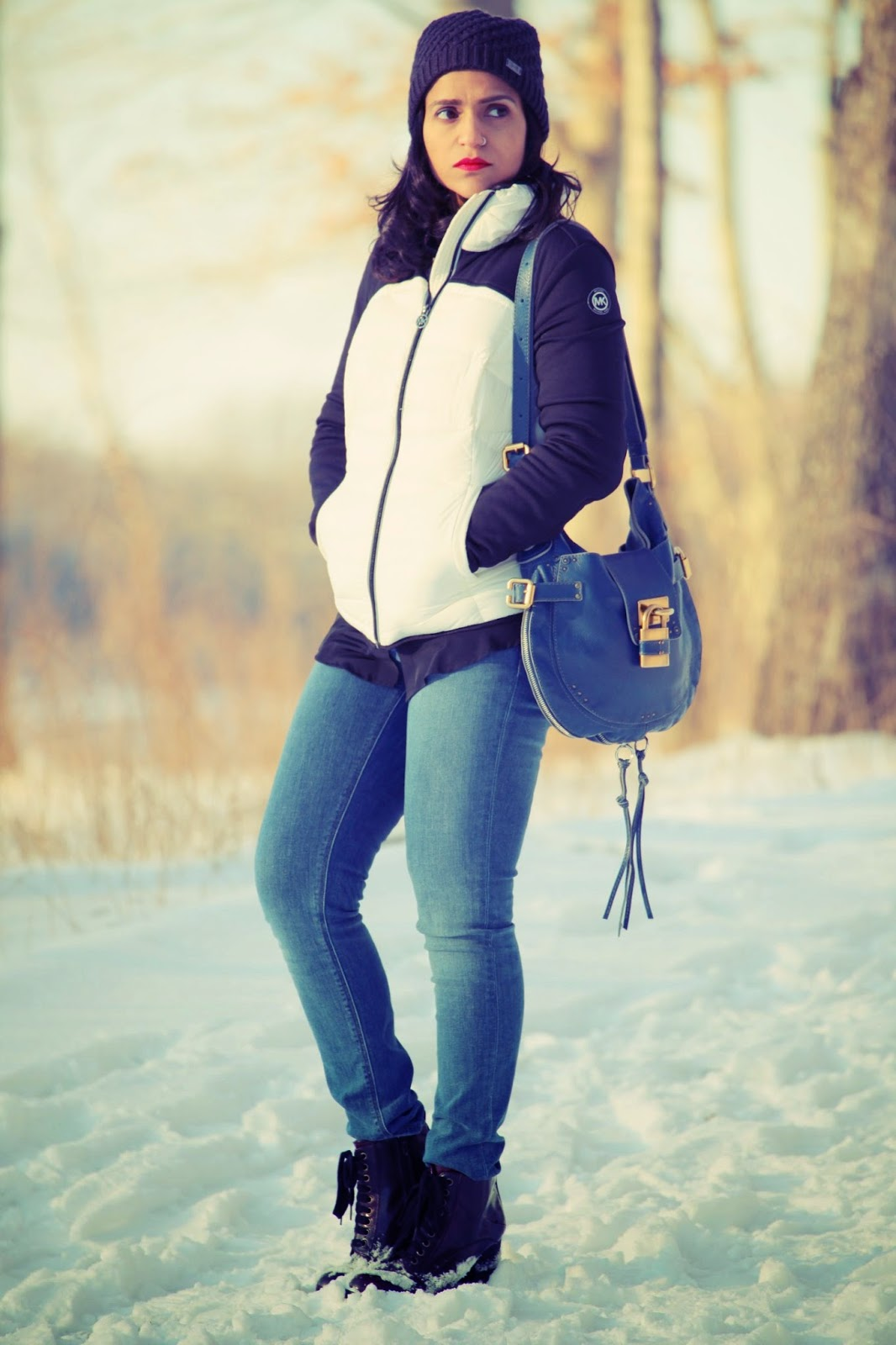 Beanie - Under Armour Sweater - C. Wonder Shirt - Cut X 2 Jeans - Zara  Boots - Steve Madden Jacket - Michael Kors Tanvii.com