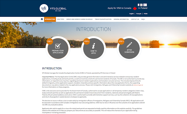 Screen shot of VFS Global web site page for Poland