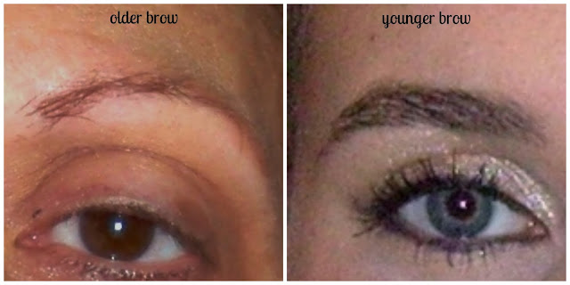 older brow compared to younger brow