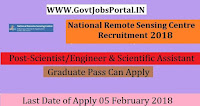 National Remote Sensing Centre Recruitment 2018 – 37 Scientist/Engineer & Scientific Assistant
