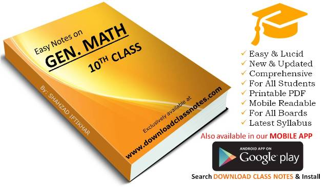 10th Class General Mathematics Notes for FBISE & Punjab Boards