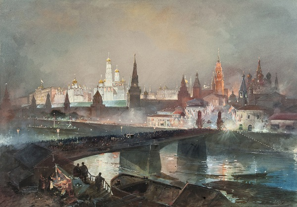 Nikolay Nikolaevich Karazin (1842-1908) - Illumination of the Kremlin during the celebration of the coronation of Emperor Nicholas II, 1896. | State Historical Museum collection | watercolors, artworks, art pictures | iconoCero