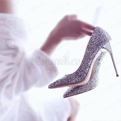 sparkling glitter women shoes closed toe