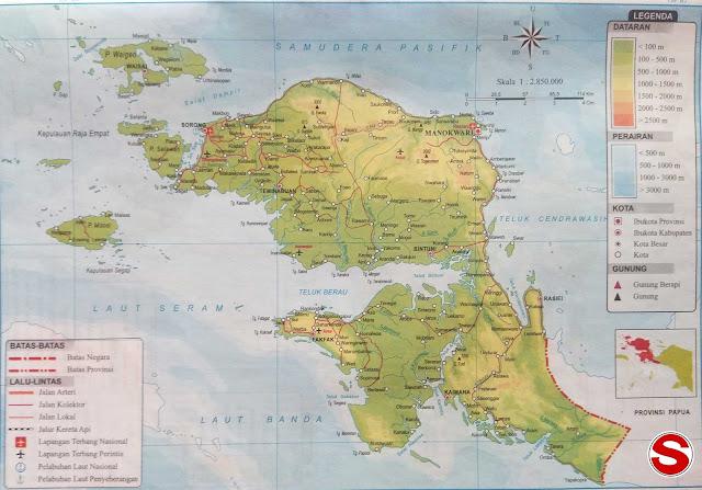 Peta Atlas Provinsi Papua Barat di bawah ini mencakup peta dataran Peta Atlas Provinsi Papua Barat
