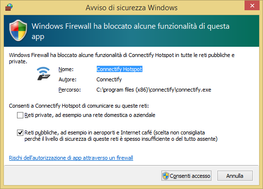 Avviso di sicurezza Windows per Connectify Hotspot