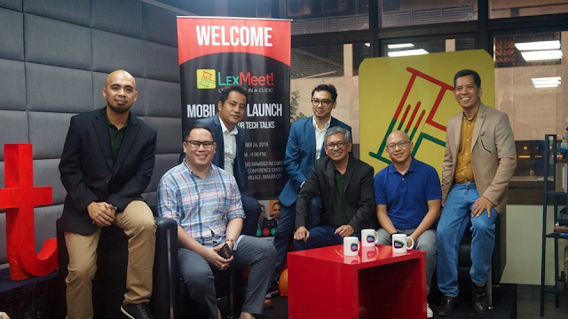 "The LexMeet Team and Guest Speakers. (L-R) President of Development - Gino Carlo Cortez, AIM Dado-Banatao Incubator Executive Director - Prim Paypon, Vice President of Design - Redg Fernandez, Vice President of Marketing - Mel Jamero, President/Founder - Atty Marlon P. Valderama, Former Solicitor General - Atty. Florin ""Pilo"" Hilbay, and Ako OFW Chairman - Dr. Chie Umandap"