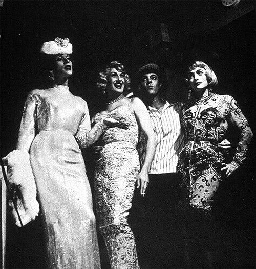 Three gurls and four guys, circa 1960
