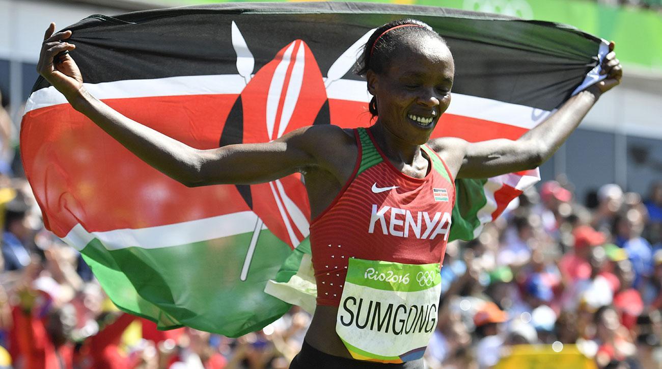 Bio Correndo Oro Olimpico Con L'ombra Doping Jemima