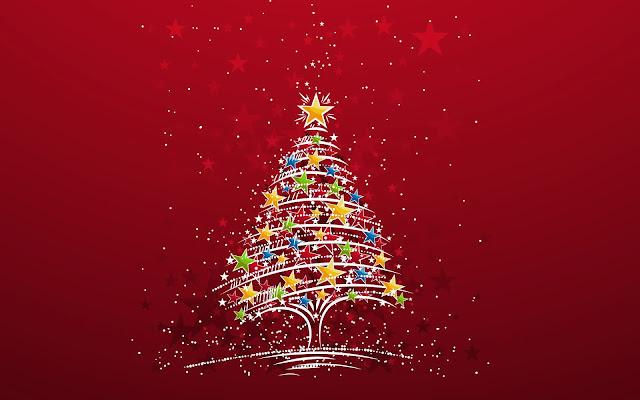 Rode kerst wallpaper met kerstboom
