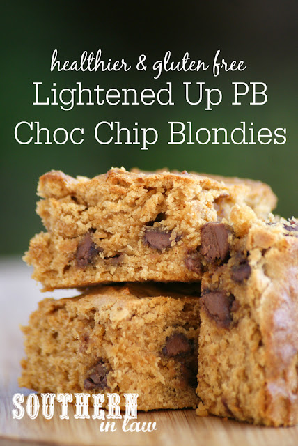 Lightened Up Gluten Free Peanut Butter Chocolate Chip Blondies Recipe - gluten free, healthy, low fat, low sugar, low calorie, healthy blondies recipe