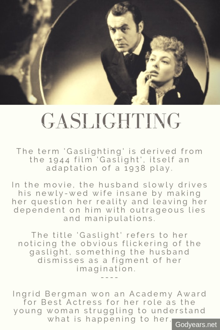 The term 'Gaslighting' originates from the 1944 movie 'Gaslight' in which a husband slowly convinces his wife that she is crazy by making her question everything she believes in.