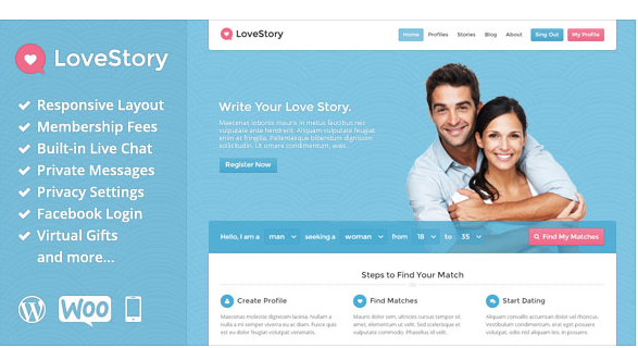 Download LoveStory v1.18 - Dating Wordpress Theme Free