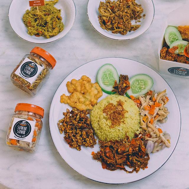 Nasi Cikur with Ayam Sambal Matah and Sapi Pedas