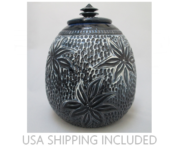 Lidded Jar OOAK Sgrafitto Original By Dryden