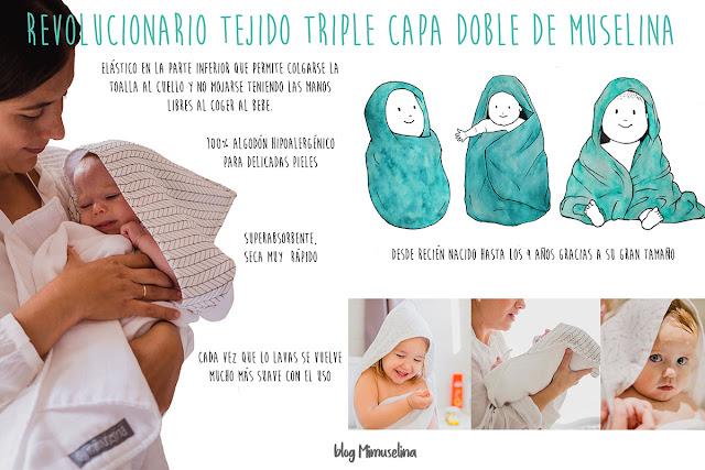 cómo bañar al recién nacido, baño bebé, capa de baño gasa de muselina, blog mimuselina