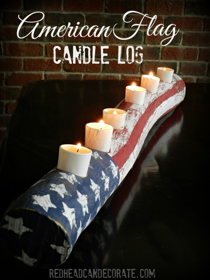 American Flag Candle Log