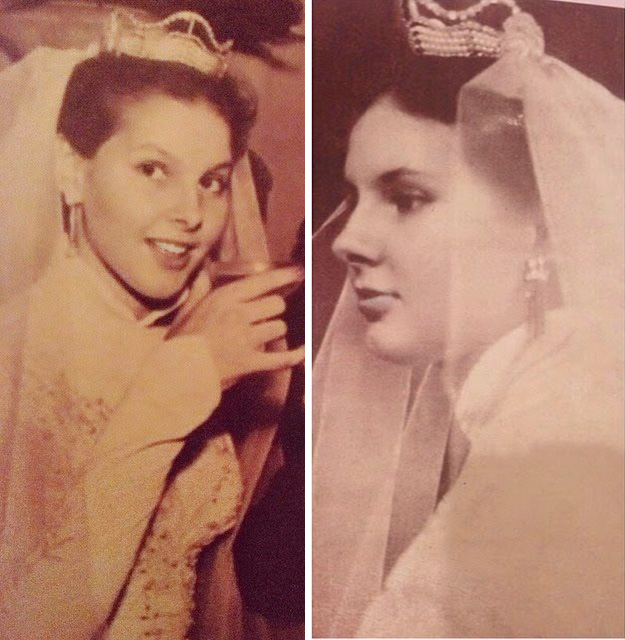 Maricy Trussardi, de noiva, coroa