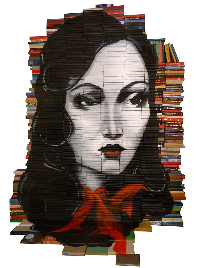 08-Mike-Stilkey-Books-used-as-Canvasses-for-Paintings-www-designstack-co