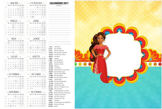 Calendario 2017 para imprimir gratis de Elena de Avalor.